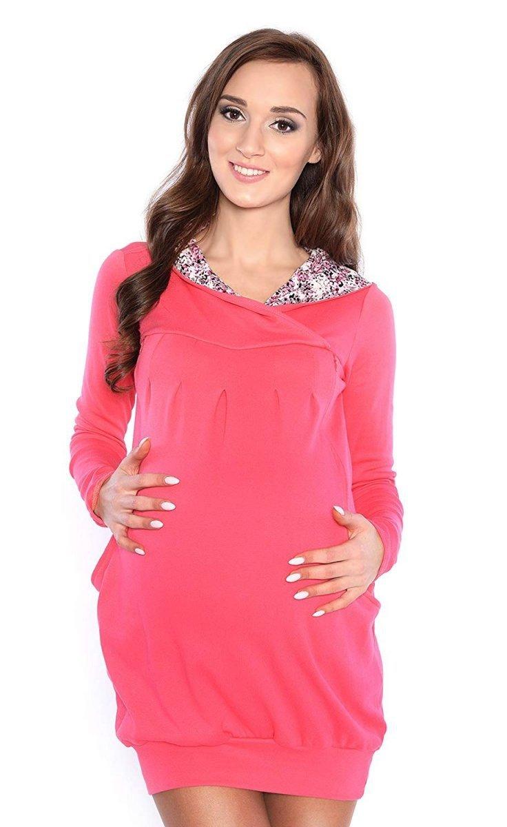 """MijaCulture - bluza 3 w 1 ciążowa i do karmienia z kapturem """"Mimi"""" 7102A koral"""