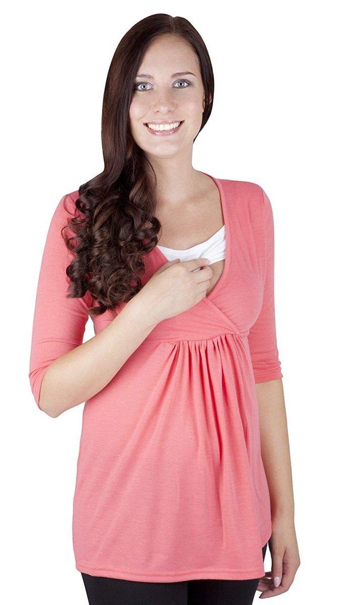 """MijaCulture - bluzka 2 w 1  ciążowa i do karmienia długi rękaw """"Dora II"""" 7103 koral"""