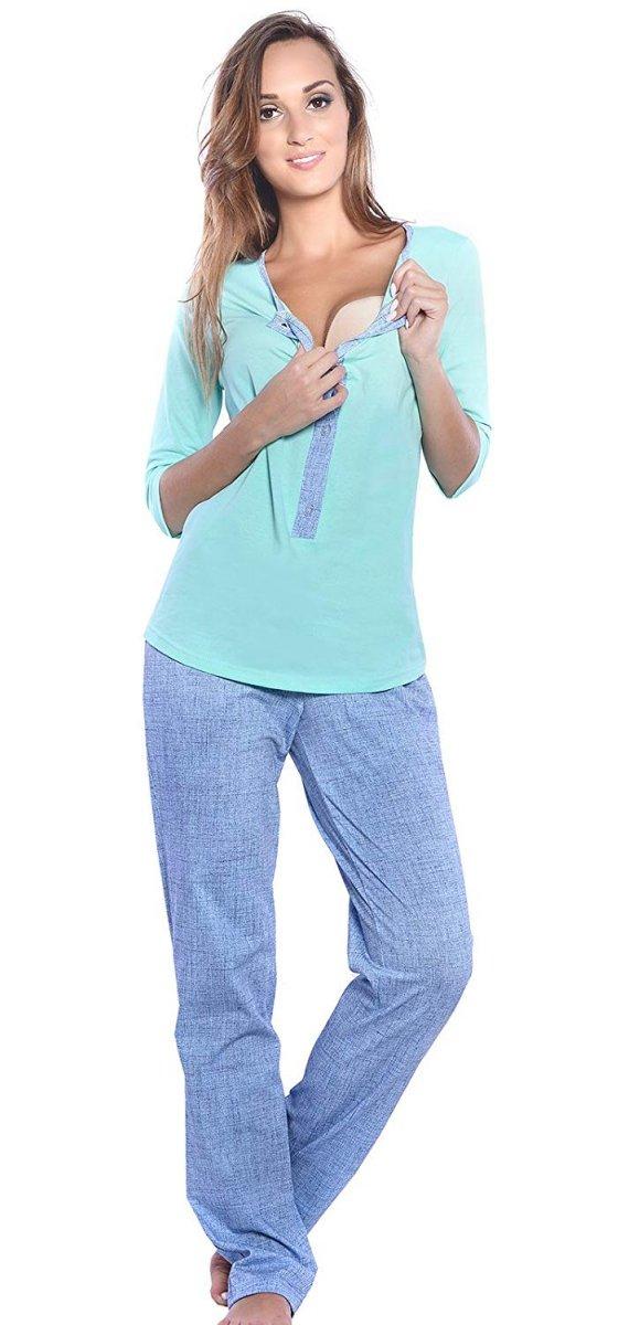 MijaCulture - 3 w 1 piżama ciążowa i do karmienia 4054/M52 mięta/niebieski