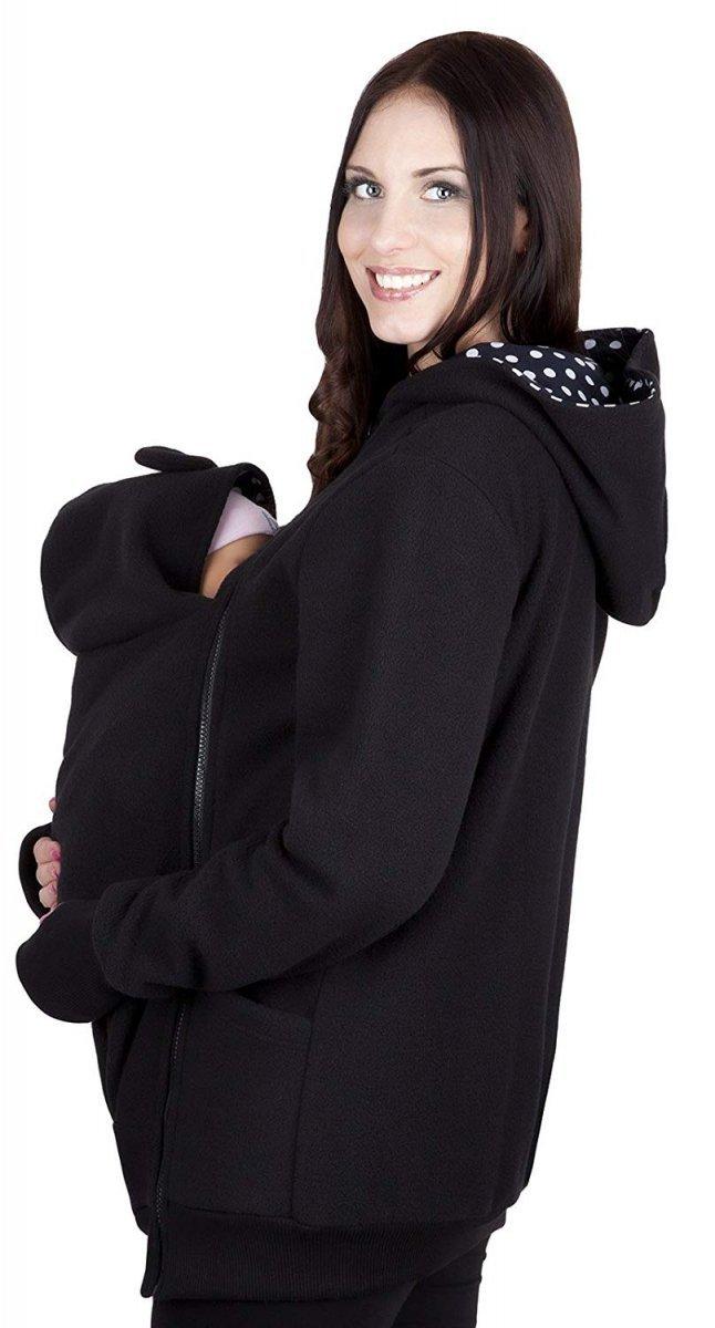 MijaCulture - bluza polarowa do noszenia dziecka 4019A/M21 czarny