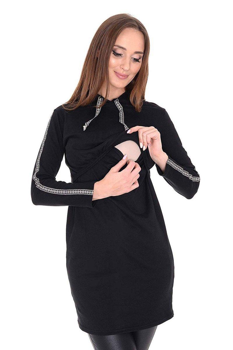 """MijaCulture - bluza 3 w 1 ciążowa i do karmienia z kapturem """"Melanie"""" 7136 czarny"""