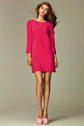 Intrygująca sukienka z zamkiem na plecach - różowy - S28