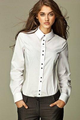Koszula z podwójnymi guzikami - biały - K38