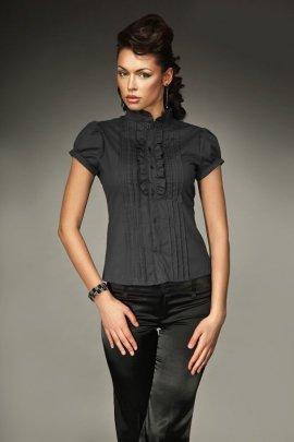 Urocza koszula z falbanką i zakładkami - czarny - K26