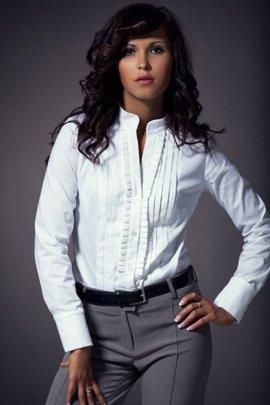 Koszula z zakładkami - biała - K11