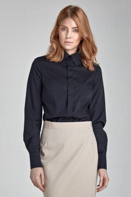 Koszula z krytym zapięciem - czarny - K31