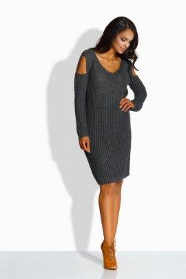 LS189   Fantazyjny sweterek sukienka z wycięciami na ramionach grafit