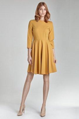 Sukienka AUDREY z rękawem 3/4 - musztarda - S19