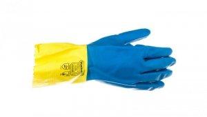 Rękawice gospodarcze z lateksu, flokowane, długość 30 Cm, Gr. 0,60 Mm niebiesko-żółte rozmiar 9,5 VE330BJ09