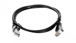 Kabel krosowy patchcord U/UTP kat.5e CCA czarny 1m 68644