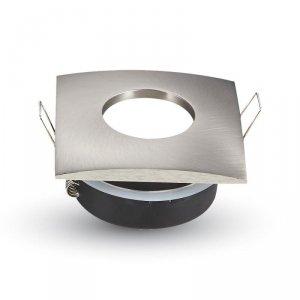 Oprawa Oczko V-TAC Aluminiowa Odlew Hermetyczne z szybką IP54 GU10 Kwadrat 84x84mm Satyna VT-787