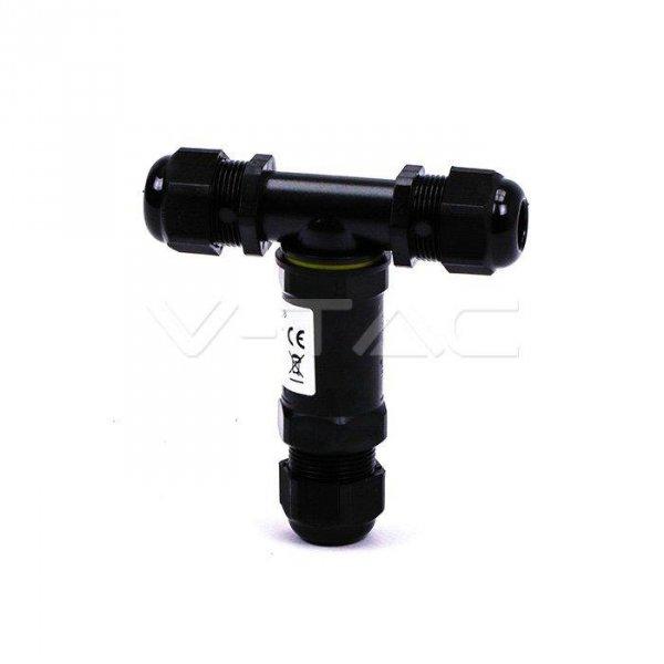 Złączka Mufa Hermetyczna Czarna Trójnik 0.5-4mm2 Średnica kabla 8-12mm IP68 V-TACC VT-869