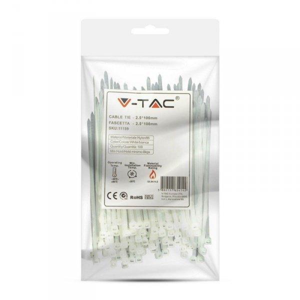 Opaska Zaciskowa V-TAC 2.5x100mm Biała 8kg Nylon66 (Opak. 100szt)