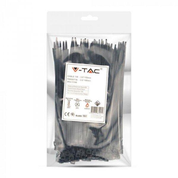 Opaska Zaciskowa V-TAC 3.5x150mm Czarna 18kg Nylon66 (Opak. 100szt)
