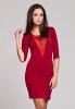 M140 czerwona sukienka z tiulową wstawką
