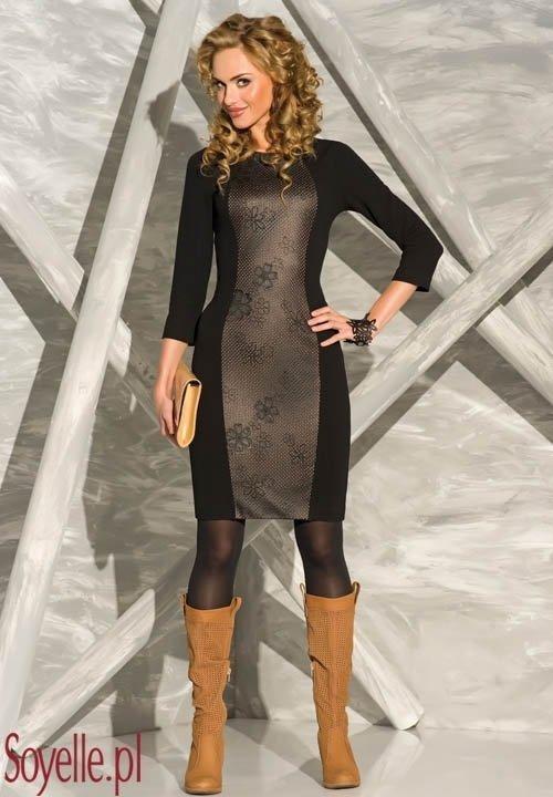 GRACE czarna sukienka z wiskozy z ażurową wstawką