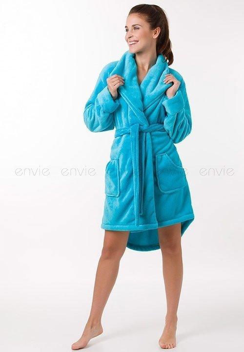 CINDY BLUE błękitny szlafrok z długimi rękawami, pluszak