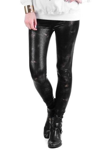SHINE WĄŻ nr 1 nabłyszczane legginsy, imitacja skóry węża, czarne + złoto
