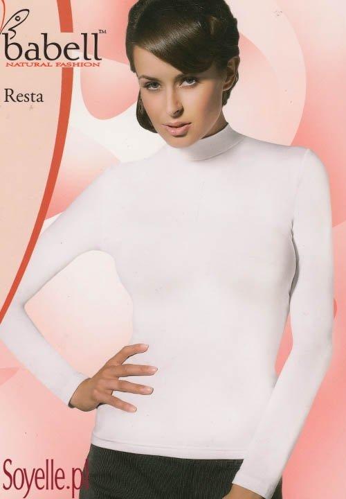 RESTA bluzka ze stójką, długi rękaw, wiskoza z elastanem, czarna, grafitowa, beżowa (cappucino)