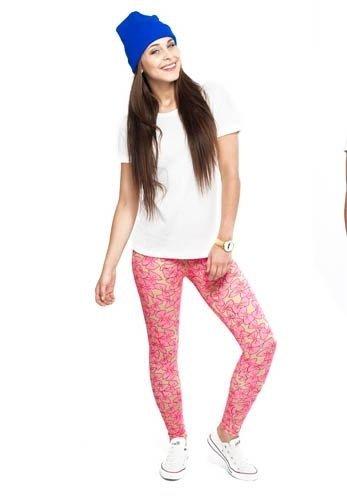 ALETA legginsy w makaroniki - kokardki, beżowo - różowe