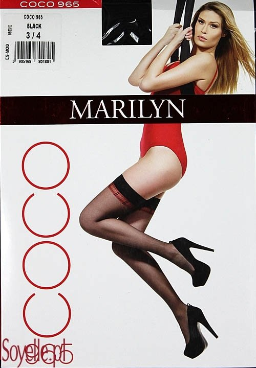 COCO 965 pończochy samonośne z czerwoną kratką, czarne, beżowe