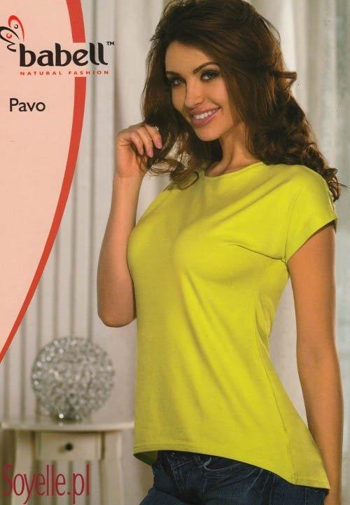 PAVO bluzka z asymetrycznym dołem, dłuższy tył, niebieska (chaber), limonka, turkusowa, wiskozowa