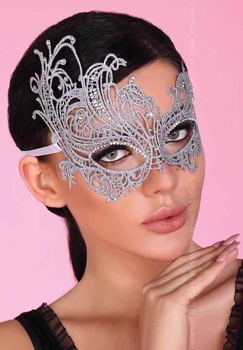 MASKA srebrna maska na twarz, zdobiona cyrkoniami