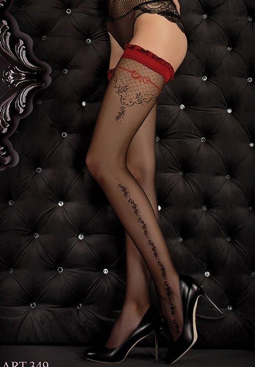 BALLERINA 349 czarne pończochy z czerwoną koronką i czerwoną kokardą