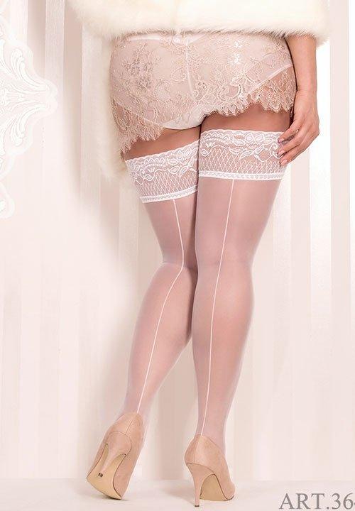 BALLERINA 364 pończochy ze szwem, białe, kolekcja Plus Size