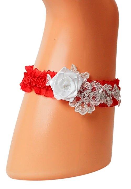 Podwiązka POD10 czerwona podwiązka z białym kwiatem i haftami