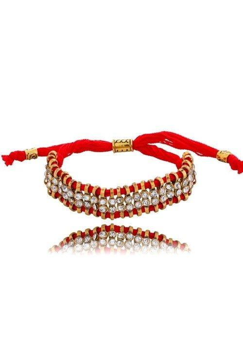 Bransoleta 107 By Dziubeka czerwona ze sznureczka z błyszczącymi cyrkoniami