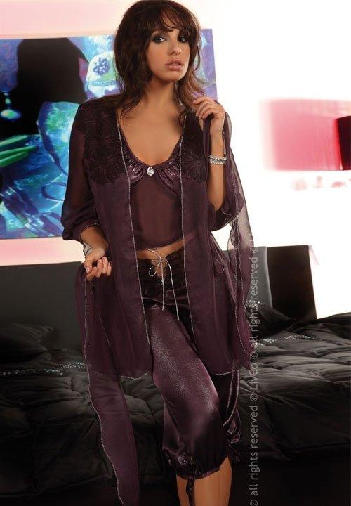 JASMINE elegancka piżama z peniuarem fioletowy odcień, rozm. S