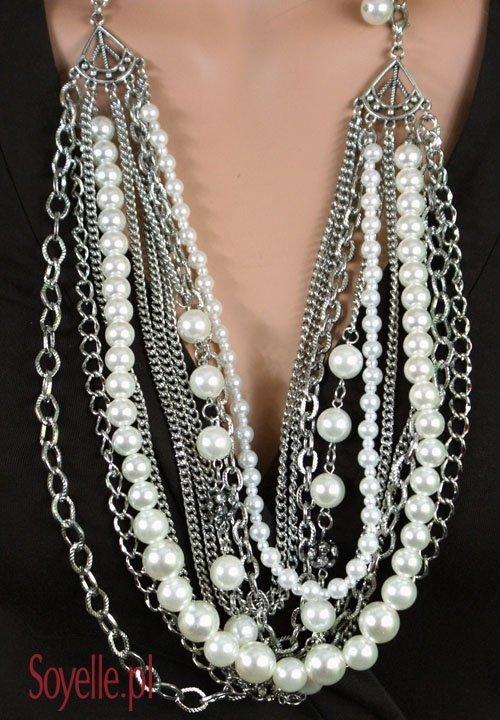 AVANGARDE perły na łańcuchach, długi naszyjnik