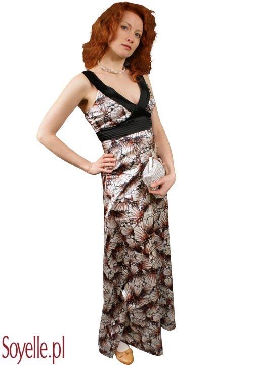 CARLINA FLOWERS elegancka, długa sukienka z satyny w kwiaty