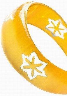 Bransoleta 031 KWIATY żółta asymetryczna