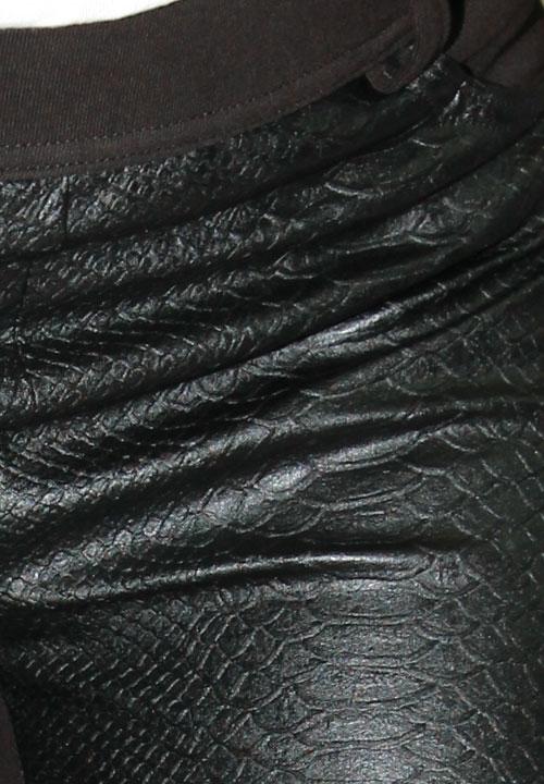 DJUK 01 czarne spodnie - legginsy z imitacją skóry, tył z gładkiej tkaniny