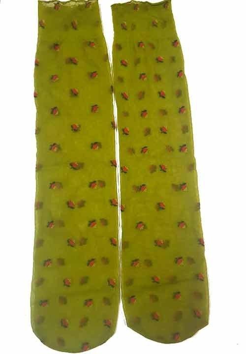 AMEE 01 zielone podkolanówki w kwiaty, cienkie