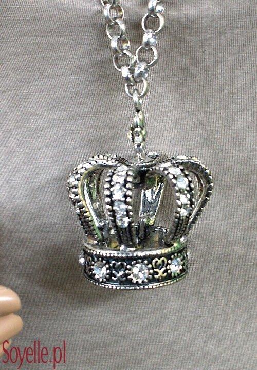 BE QUEEN duży wisior - korona na długim łańcuchu, błyszczące cyrkonie