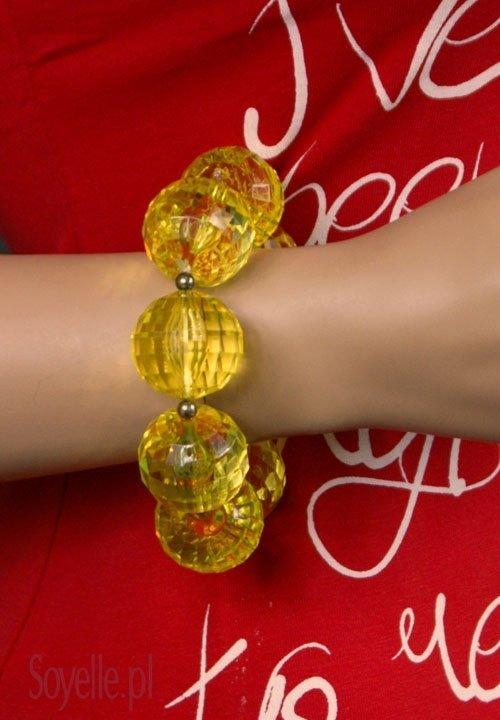 Bransoleta 057 duże szklane kulki pomarańczowe, żółte
