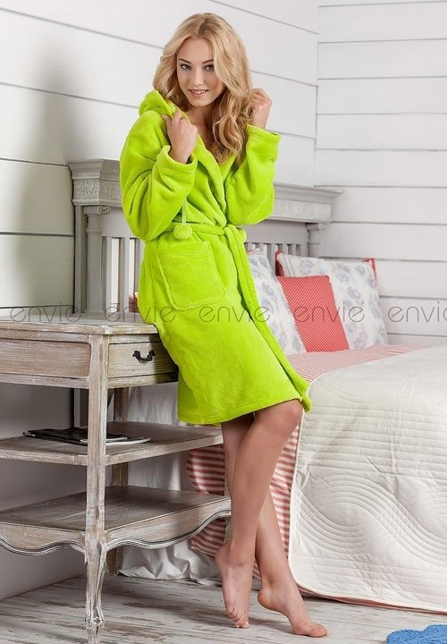 IRIS LEMON szlafrok z kapturem w pięknym kolorze jasnej zieleni