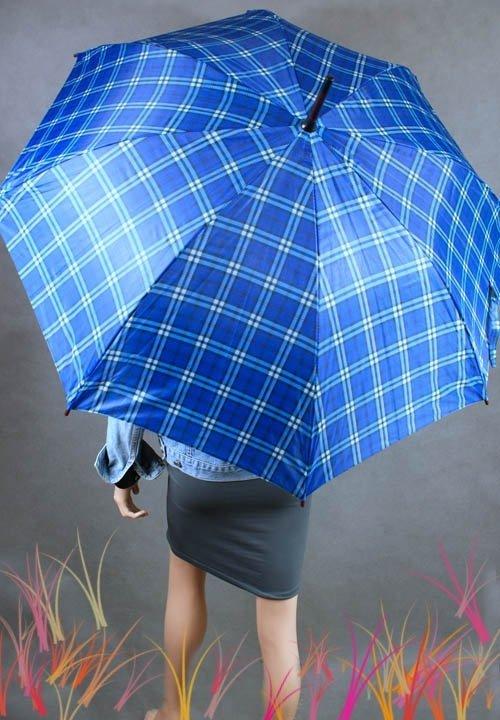 Parasolka damska duża w niebieską kratkę