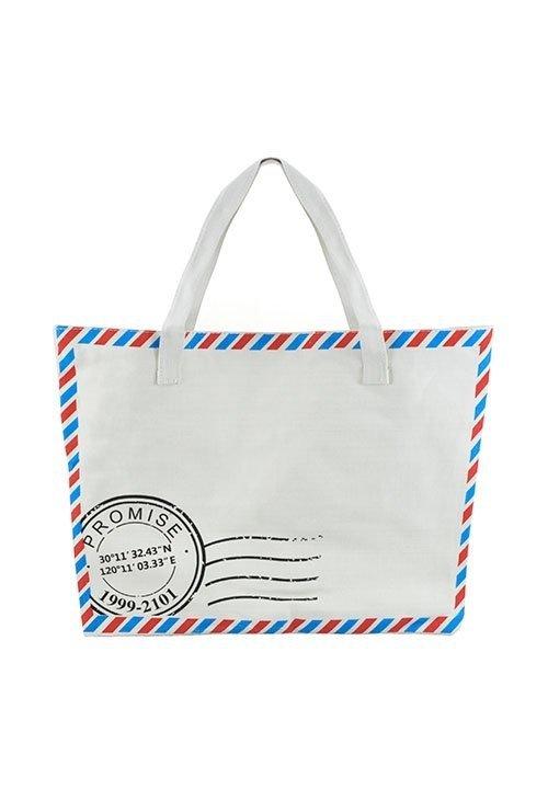 Torebka 485 torba - list, z materiału, zapinana na zamek, na zakupy, do szkoły, itp.