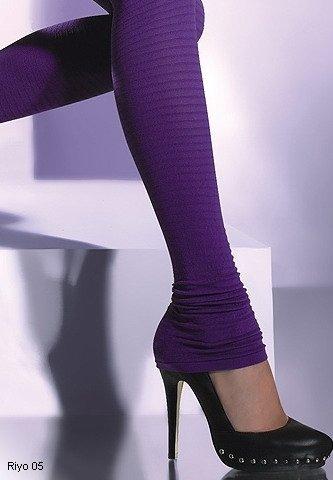RIYO 05 legginsy długie CZERWONE faktura w paseczki z marszczoną nogawka
