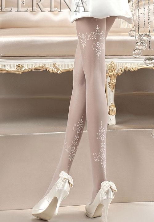 BALLERINA 118 białe rajstopy z białym wzorem, kolekcja ślubna
