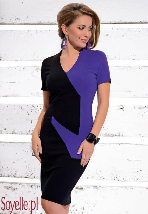 SOFIA sukienka z wiskozy, połączenie czerni i fioletu