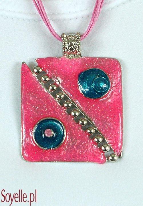 ABSTRAKT naszyjnik z dużym różowym wisiorem, nowoczesny wzór