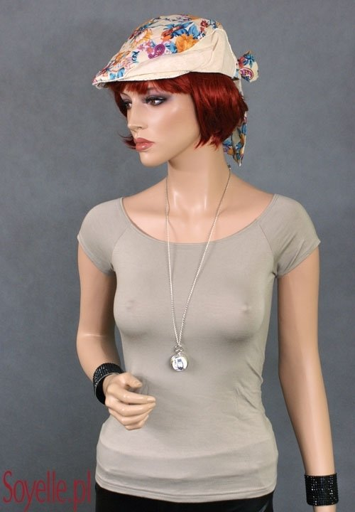Kaszkiet damski kolorowy z kokardą letni beżowe odcienie