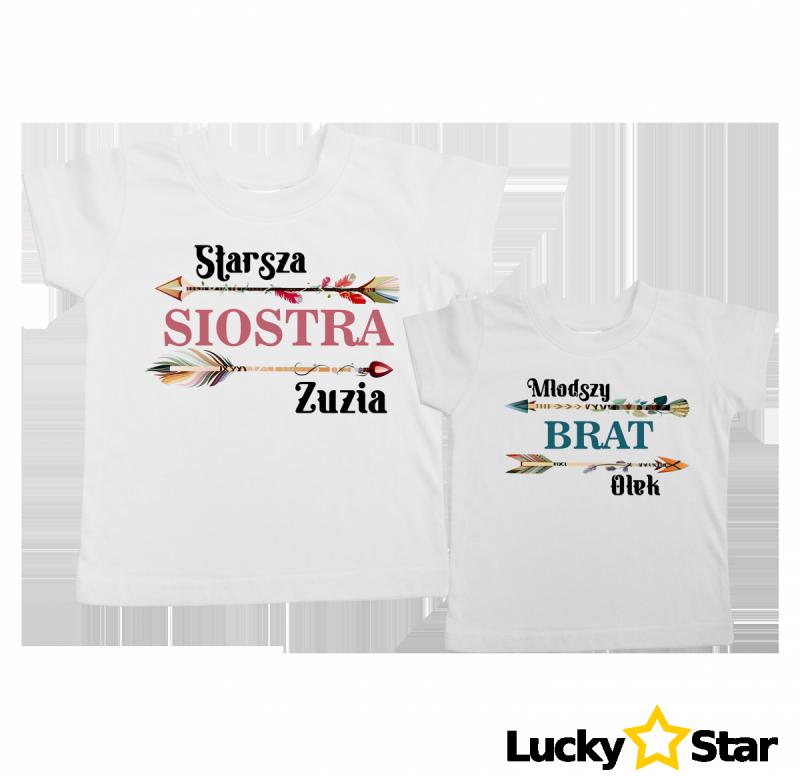 Komplet koszulek dla rodzeństwa boho + wybrane imię
