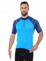 Brubeck SS12390 Koszulka rowerowa unisex krótki rękaw z suwakiem lazurowy/niebieski