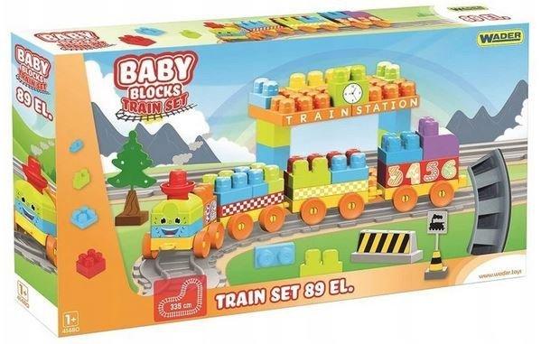 Klocki Baby Blocks POCIĄG 89el. Wader 41480